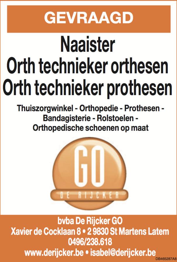 VACATURE De Rijcker - Ganda Orthopedica bvba
