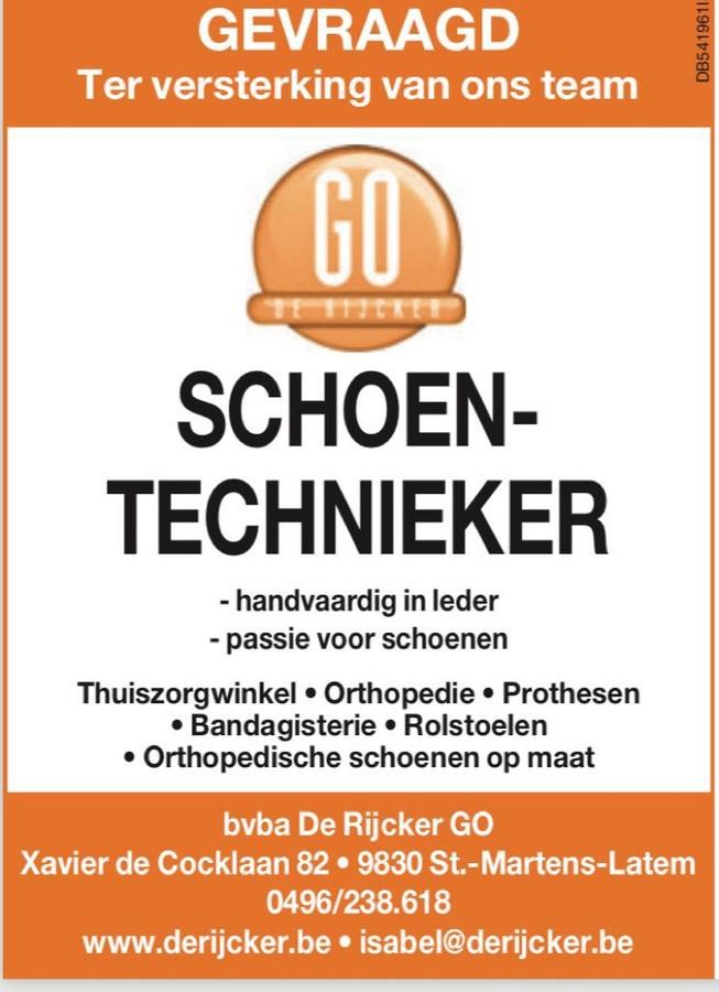 Gezocht: schoentechnieker De Rijcker - Ganda Orthopedica bvba